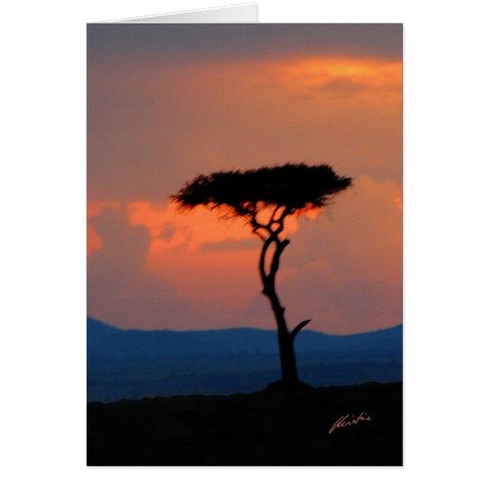 Baum-Silhouette u. Sonnenuntergang, Grußkarte
