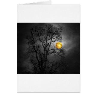 Baum voll der Raben mit einem Vollmond Karte