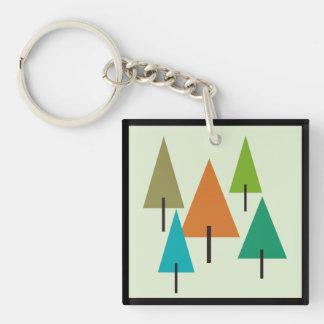 Baum-zeitgenössische Kunst Beidseitiger Quadratischer Acryl Schlüsselanhänger