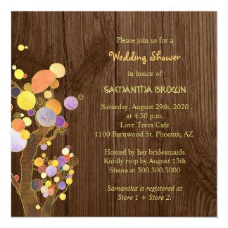 Bäume auf rustikalem hölzernem Korn-Polterabend Quadratische 13,3 Cm Einladungskarte