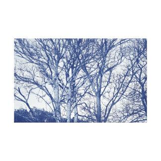 Bäume im Winter - Cyanotype Effekt Leinwanddruck