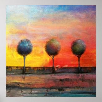 Bäume in einem toskanischen Sonnenuntergang Poster