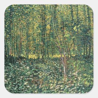 Bäume Vincent van Goghs   und Unterholz, 1887 Quadratischer Aufkleber