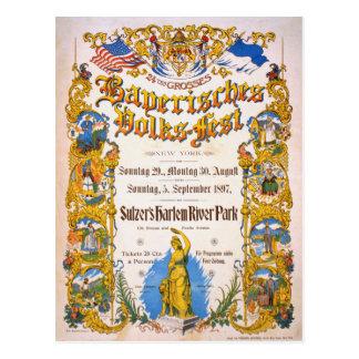 Bayerisches Volksfest New York Vintages Plakat Postkarten