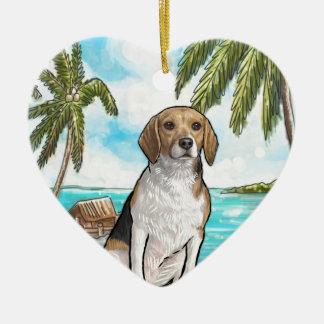 Beagle auf Ferien-tropischem Strand Keramik Herz-Ornament