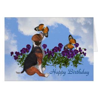 Beagle Butterflies Pansies Cute Birthday Card Grußkarte