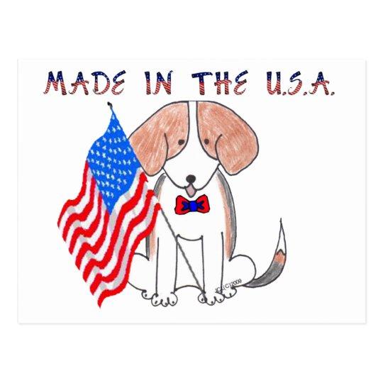 Beagle gemacht in der usa postkarte postkarte for Badgestaltung fa r kleine ba der