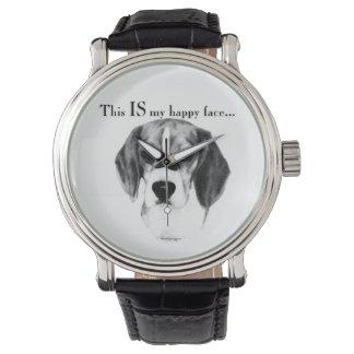 Beagle-glückliches Gesicht Armbanduhr