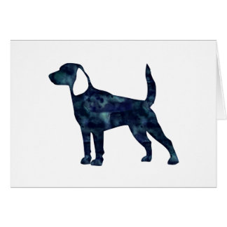 Beagle-Hundewatercolor-Schwarz-Silhouette Karte