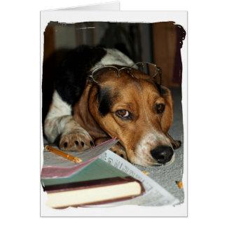 Beagle-müdes HundeFoto der Steuer-Zeit-CPA Grußkarte