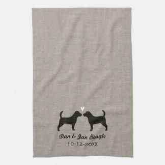 Beagle-Silhouetten mit Herzen Handtuch