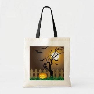 Beängstigende Halloween-Garten-Szene - Tragetasche
