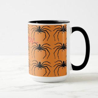 Beängstigende Halloween-Hexe-schwarze Spinne Tasse