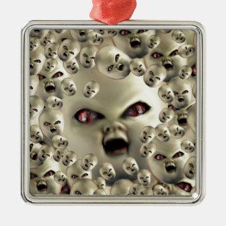 beängstigende Puppegesicht Quadratisches Silberfarbenes Ornament