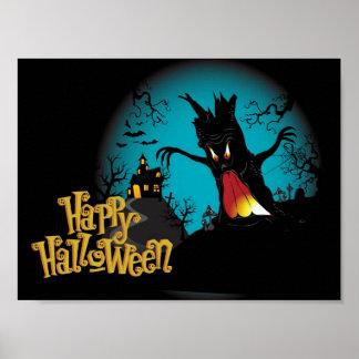 Beängstigendes Spuk Haus Halloweens mit Baum Poster