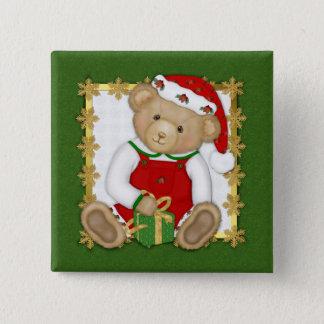 Beary frohe Weihnachten - Jungen-Teddybär Quadratischer Button 5,1 Cm