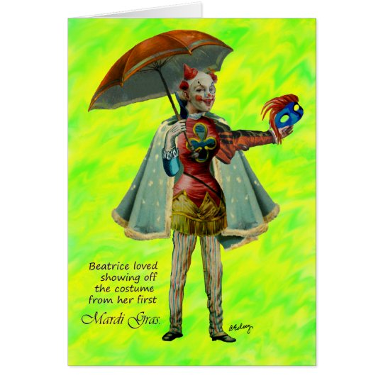 Beatrice und ihre Karneval-Kostüm-Karte Mitteilungskarte