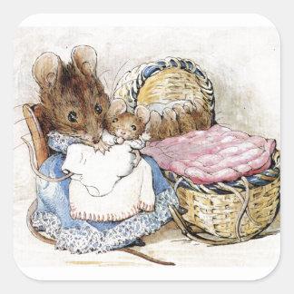 Beatrix Potter, Mutter-Maus und Babys, Gewohnheit Quadratischer Aufkleber