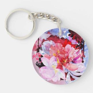 Beau bouquet des fleurs porte-clé rond en acrylique double face