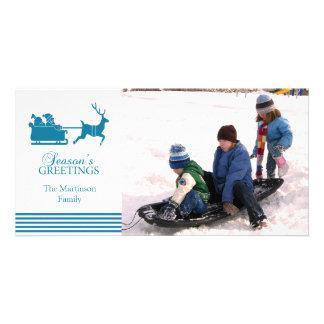 Beau carte photo de Noël de Père Noël (bleu) Modèle Pour Photocarte