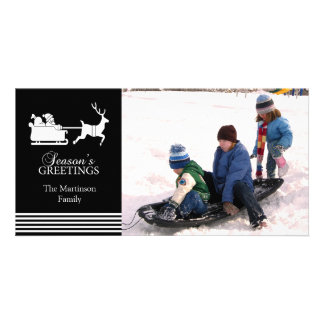 Beau carte photo de Noël de Père Noël (noir) Photocartes Personnalisées