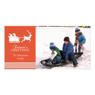 Beau carte photo de Noël de Père Noël (orange) Photocarte Personnalisée