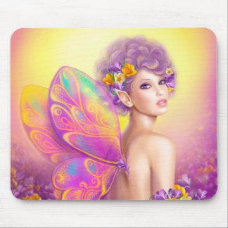 Beau papillon de fée de fille tapis de souris