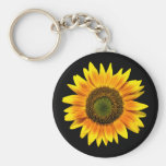 Beau tournesol jaune sur le porte - clé noir porte-clé rond