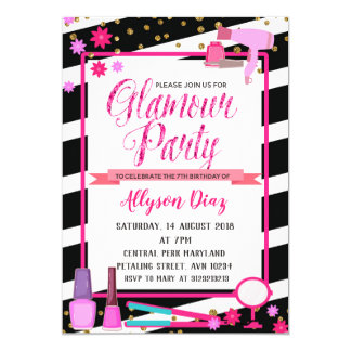 Beauty Queen Glamour Party Birthday Invitation Karte