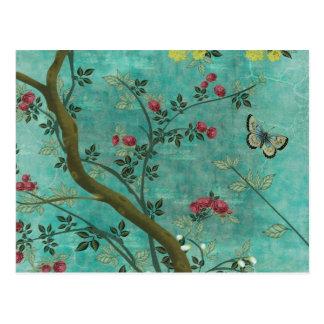 Beaux papillons antiques vintages d arbre de fleur carte postale