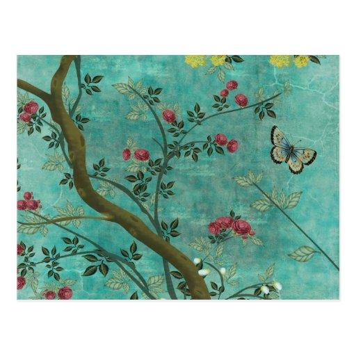 Beaux papillons antiques vintages d'arbre de fleur carte postale