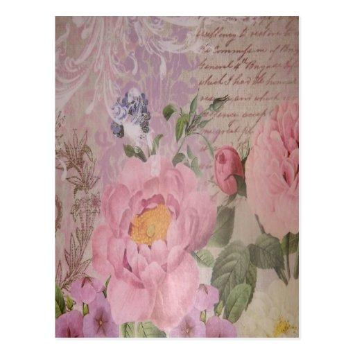 Beaux roses vintages et fleurs roses et bleus carte postale