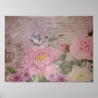 Beaux roses vintages et fleurs roses et bleus poster