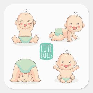 Bébés mignons sticker carré