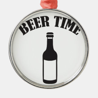 beer time rundes silberfarbenes ornament