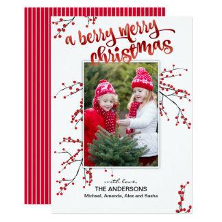 Beeren-frohe Weihnachten mit Ihrem Foto Karte