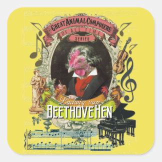 Beethovehen Henne-Tierkomponisten Beethoven Quadratischer Aufkleber