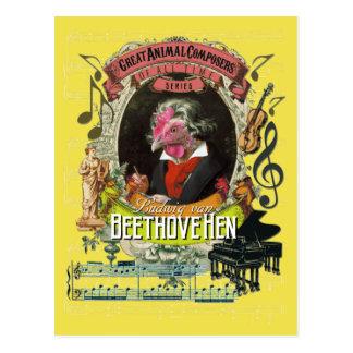 Beethovehen lustige Henne-Tierkomponist Beethoven Postkarte