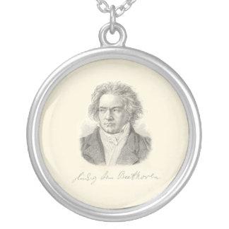 Beethoven-Porträt mit Unterzeichnung Versilberte Kette