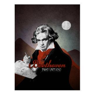 Beethoven virtuoses Klavier black Postkarte