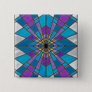 Beflecken Sie Glasstrahl blau und lila Quadratischer Button 5,1 Cm