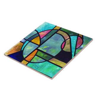 Beflecktes Glas abstraktes 1 Keramikfliese