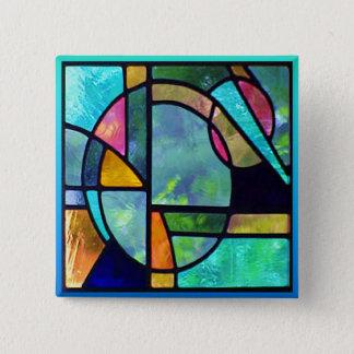 Beflecktes Glas abstraktes 1 Quadratischer Button 5,1 Cm
