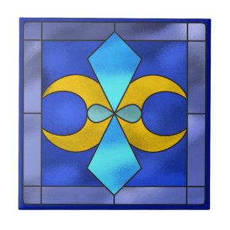 Beflecktes Glas-geometrischer Mond-blaue Keramikfliese