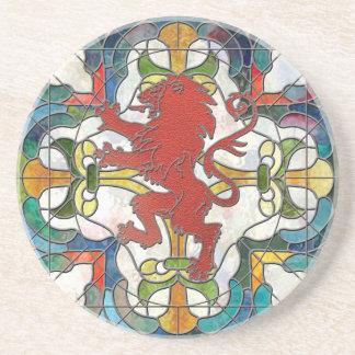 Beflecktes Glas-Löwe-Wappen Untersetzer