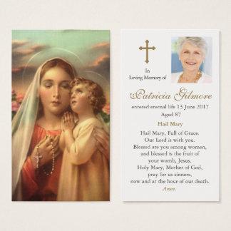 Begräbnis- Gebets-Karte bemuttert Hingabe Visitenkarte