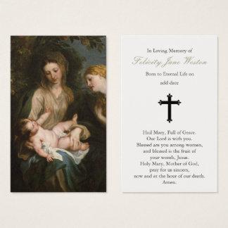 Begräbnis- Gebets-Karte Madonna u. Kind u. St. Visitenkarte