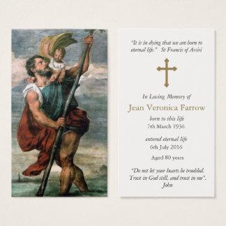 Begräbnis- Gebets-Karte St Christopher Visitenkarte