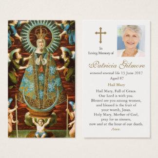 Begräbnis- Gebets-Karte unsere Dame von Lledo Visitenkarte