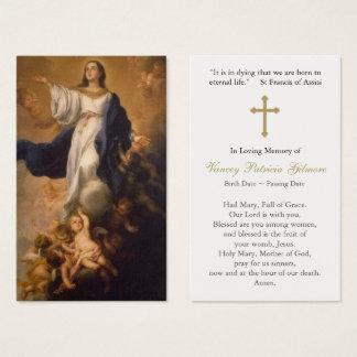 Begräbnis- Gebets-Karten-Annahme Mary mit Kreuz Visitenkarte